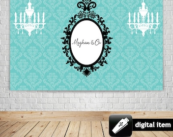 DIGITAL Download: Teal Blue Inspired Dessert Table Backdrop, Tiany and Co party backdrop perfect for bridal, baby shower, birthday