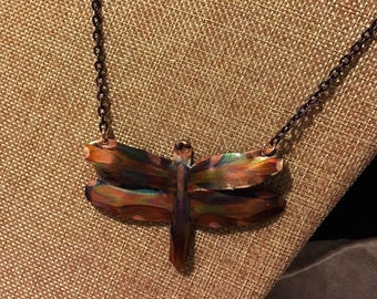 Dragonfly Pendant made of Flame Painted Copper- on antiqued copper chain with handmade loop and hook