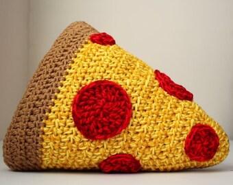 Crochet Pizza Throw Pillow