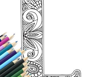 "Adult Colouring Page Alphabet Letter ""L"""