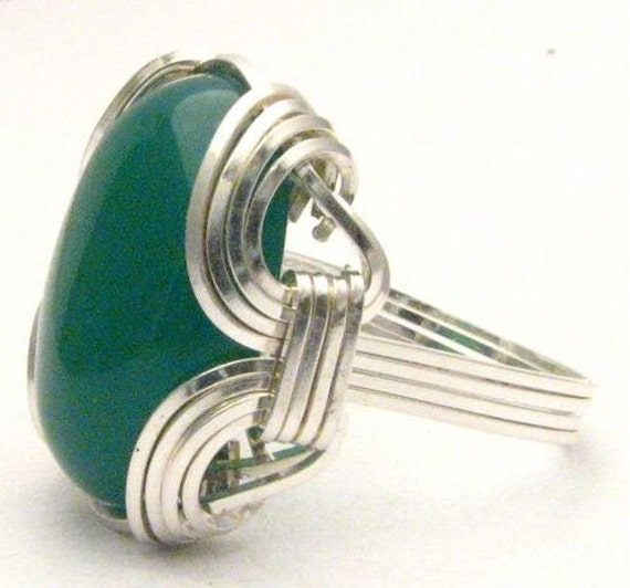 Wire Wrapped Green Onyx Sterling Silver Ring.  Custom Sized to fit you.