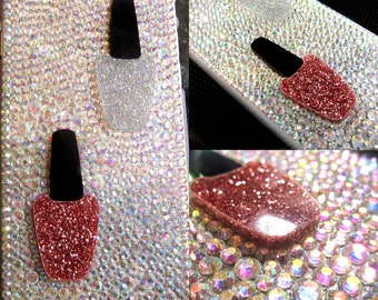 Bling Cell Phone Case - Glitter Nail Polish Crystal Case for iPhone 6/7/8 X Plus, Samsung Galaxy S6/S7/S8/Note, Google Pixel/XL; Crystal AB