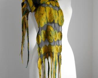 Nuno felted scarf Silk Chiffon Felted scarf Mustard and Black scarf 'Golden Night' Black and gold scarf Black chiffon scarf Gifts for her