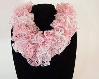 Knit Scarf, Sashay Scarf, Ruffle Scarf, Pink Sashay Ruffle Scarf, Bell Ruffle Scarf, Knit Ruffle Scarf, Pink Blend
