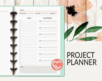 Project Planner   3 Sizes   Digital Planner Page   Instant Download Printable PDF   Goal, Deadline, Tasks, Milestones, Notes