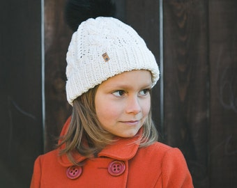 Girl's Knit Hat / Toddler Knit Hat / Toddler Winter Hat / Knit Pom Hat for Kids / Mink and Goat Wool Hat /