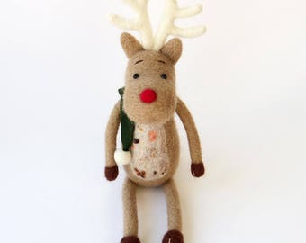 Christmas reindeer figurine - needle felted Rudolph light brown deer with a green scarf, winter decor, felt doll