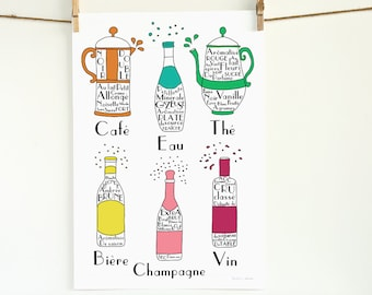 French Drinks illustration 13x19 art print poster French Alcohol Beverages Typographic wine champagne beer water coffee tea father's day