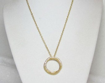 Gold Circle Necklace, Double Gold Ring, Rhinestones, Circle Pendant, Floating Pendant, Necklace