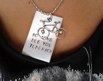 So Long See You Tomorrow - Bombay Bicycle Club - Handstamped Charm with Necklace