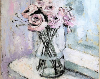 Acrylic palette knife impressionist still life floral roses painting