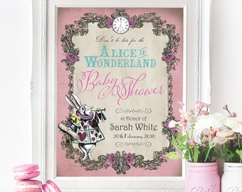 Alice in Wonderland Baby Shower Pastel Party Sign - INSTANT DOWNLOAD - Editable & Printable Decorations by Sassaby Parties