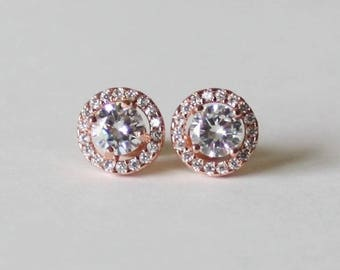 Bridesmaids earrings, 10mm Cubic Zirconia earring studs, Bridesmaids gifts, Gold bridal earrings, round CZ earrings, Rose gold earring studs