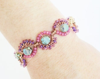 Spring Pastel Copper Wire Wrapped Easter Cuff Bracelet By Distinctly Daisy