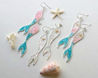 SILVER Custom Mermaid Tail Earrings, Mermaid Dangle, Dolphin Tail Earrings, STERLING SILVER:  Choose Your Color(s)