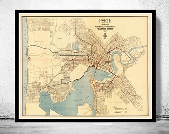 Vintage map of Perth, Australia