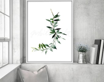 Olive Watercolour, Green Olive Branch Botanical Plants,Nature Wall Art,  Green Herb Leave
