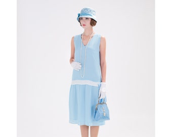Light blue 1920s tea dress, blue Charleston dress, blue Great Gatsby dress, 1920s bridesmaid dress, flapper dress, Downton ABbey dress