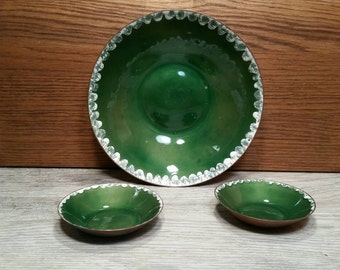 H. Tishler Copper & Enamel Dishes - Set of 3