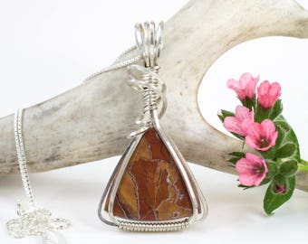 Stone Canyon Agate Pendant - Argentium Sterling Silver - Wire Wrap Agate Necklace - Stone Canyon Agate Jewelry - Wire Wrapped Pendant