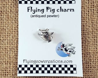 Pewter Flying Pig Charm