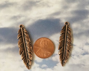 Feather Antiqued Copper Pewter Charms, Jewelry Supply  (Two Pieces)