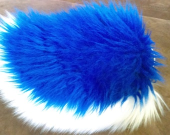 Cobalt Blue and White Rabbit Tail