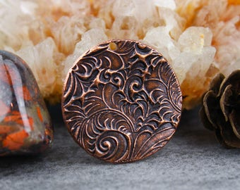 SALE Solid Copper Circle Pendant Focal, Pure Antique Copper Swirl Texture Component, 24mm, C45, PMC Precious Metal Clay