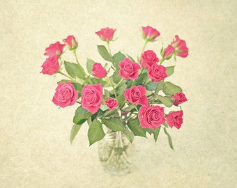 Red Roses - Bouquet of Roses - Shabby Chic Decor - Vintage-style Photograph