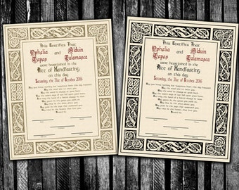 Norse Viking Celtic Handfasting Certificate for Pagan, Wiccan and Asatru Weddings, Printable on Parchment