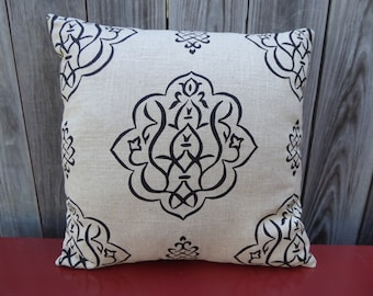 Black medallion printed linen pillow cover
