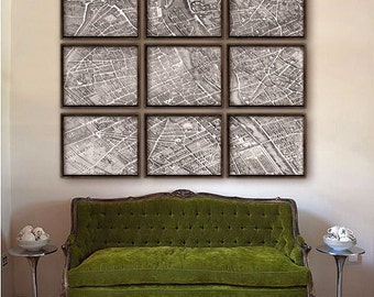 "Paris France map 1739, map of Paris up to 60x48"" (150x120 cm) in 1 or 9 prints, Notre Dame, Louvre, Seine river - Limited Edition of 100"
