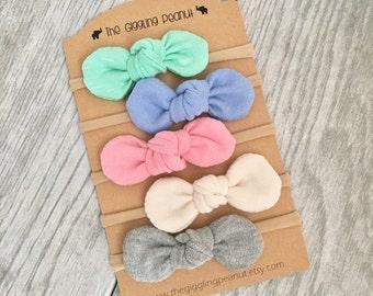 Spring Mini Knot Collection // Baby Nylon Headbands // Small Bow Headbands // Newborn Headbands // Pastel Baby Girl Headbands // Baby Bows