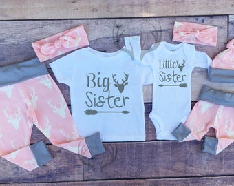 Big Sister Little Sister Outfits, Baby Girl Coming Home Outfit Set,Country Outfits, Gils Pink Deer,Sister,Pink,Gray ,Girls Deer Outfits,