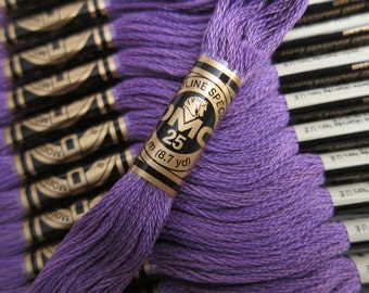 208, Very Dark Lavender, DMC Cotton Embroidery Floss - 8m Skeins - Full (12-skein) Boxes - Get Up To 50% OFF, see Description