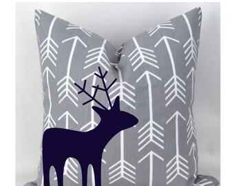 Woodland Deer Decorative Pillow with Insert -Navy