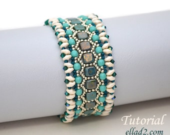 Beading Tutorial Honeycomb Bracelet - Beading pattern, PDF, Instant download