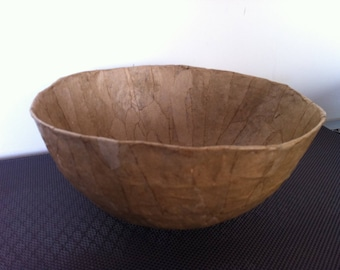 Large paper mache Bowl - handmade - craft glued paper Decor
