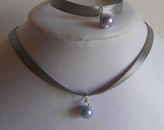 Adult/child gray satin ribbon and lavender pendant wedding set