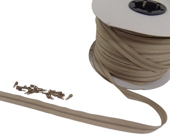 No3 Continuous Beige Zipping Sliders *10 Sizes*