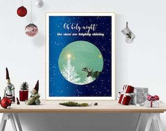 Charming Christmas Print, Christmas Card, Christmas Quote, Oh Holly Night, Christmas  Decor,