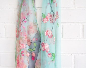 Cherry blossoms scarf Sakura scarf Almond tree bloom scarf Pink Aqua Mint Turquoise scarf Hand painted silk chiffon Spring summer scarf
