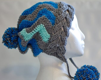 SALE ready to ship chevron crochet hat with braided border and pompoms