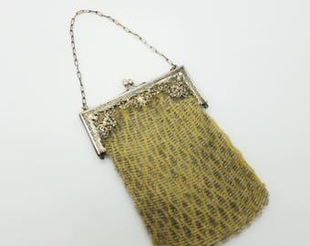 Antique, Early 19th Century Beaded Handbag, Green & Silver