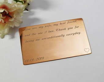 Copper Anniversary Gift Copper Wallet Insert Card Copper gift for her 7 Year Anniversary wife copper gift custom engraved copper gift