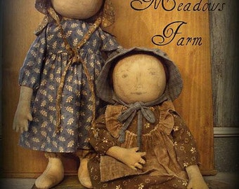 E-PATTERN Primitive Early Prairie Dolls Standing or Sitting