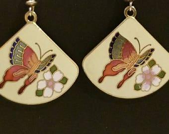 Cloisonne butterfly earrings