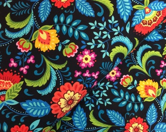 Black Floral Cotton Fabric from the Pieceful Gathering Collection by Studio e Fabrics
