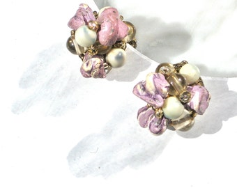Vintage Clip Earrings Lilac Japan Lilac Stone Cluster with Glass Beads Marked Bridal Wedding Accessory