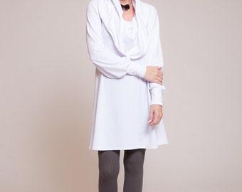Womens tunic - long sleeves tunic shirt, cowl neck tunic, white tunic top, fall fashion, winter tunic  sizes : XS / S / M / L / Xl